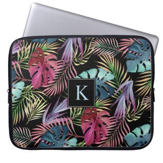Capa Para Laptop Teste padrão botânico da folha tropical da selva
