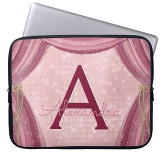 Capa Para Notebook Coram nome do monograma das cortinas do rosa e de