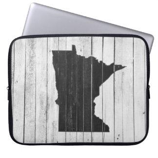 Capa Para Notebook Estado rústico branco e preto de Minnesota do país
