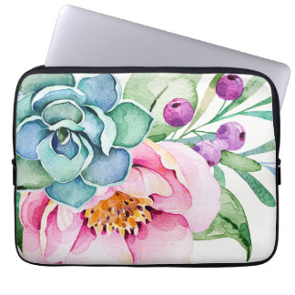 Capa Para Notebook Flores coloridas das aguarelas & cacto verde