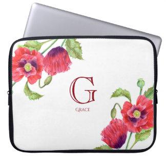 Capa Para Notebook Monograma floral botânico das papoilas vermelhas