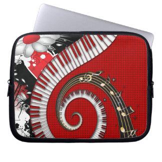 Capa Para Notebook O piano fecha redemoinhos florais do Grunge das