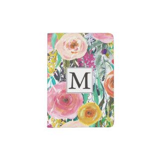 Capa Para Passaporte A aguarela romântica do jardim floresce o