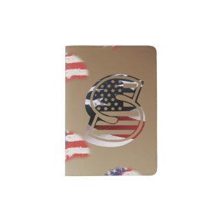 Capa Para Passaporte Bandeira patriótica dos EUA da inicial do