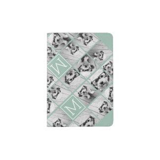 Capa Para Passaporte Monograma original verde do costume da colagem da