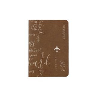 Capa Para Passaporte teste padrão conhecido escrito à mão do viagem do