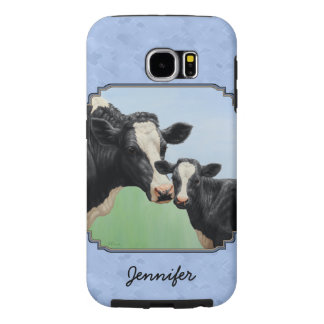 Capa Para Samsung Galaxy S6 Azul-céu bonitos da vitela & da vaca de Holstein