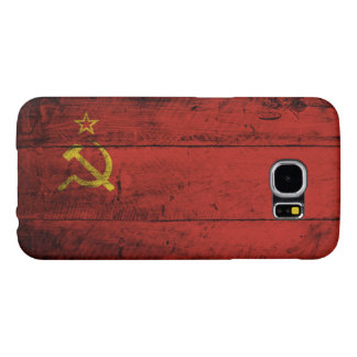 Capa Para Samsung Galaxy S6 Bandeira de União Soviética na grão de madeira