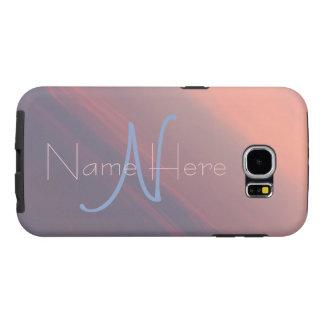 Capa Para Samsung Galaxy S6 Monograma de quartzo cor-de-rosa e de serenidade
