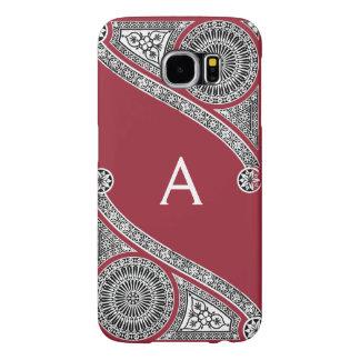 Capa Para Samsung Galaxy S6 Monograma do vermelho de Marsala do ARQUITETO do