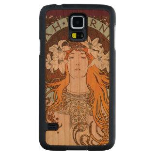 Capa Slim De Cerejeira Para Galaxy S5 Arte Nouveau do vintage de Alphonse Mucha Sarah