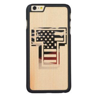 Capa Slim Para iPhone 6 Plus De Bordo, Carved Bandeira patriótica dos EUA da inicial do