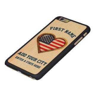 Capa Slim Para iPhone 6 Plus De Bordo, Carved Coração americano personalizado com alguns cidade
