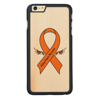Capa Slim Para iPhone 6 Plus De Bordo, Carved Fita do cancer de rim com asas