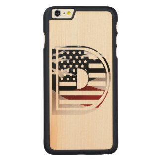 Capa Slim Para iPhone 6 Plus De Bordo, Carved Teste padrão da bandeira dos EUA da inicial do