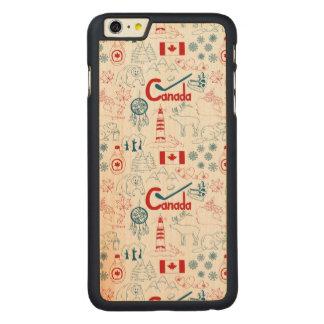 Capa Slim Para iPhone 6 Plus De Bordo, Carved Teste padrão dos símbolos de Canadá |
