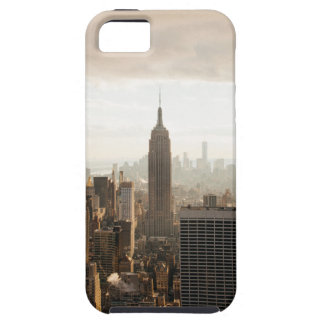 Capa Tough Para iPhone 5 Skyline de New York - crepúsculo - cinza