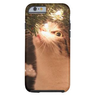 Capa Tough Para iPhone 6 Gatos e luzes - gato do Natal - árvore de Natal