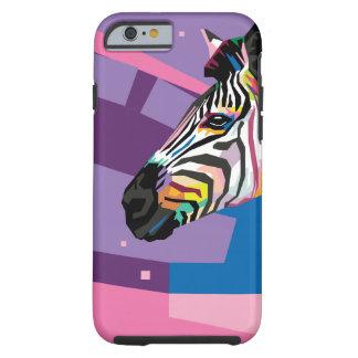 Capa Tough Para iPhone 6 Retrato colorido da zebra do pop art