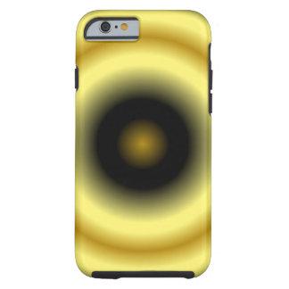 Capa Tough Para iPhone 6 Teste padrão preto amarelo do círculo