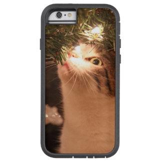Capa Tough Xtreme Para iPhone 6 Gatos e luzes - gato do Natal - árvore de Natal