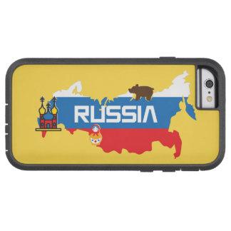 Capa Tough Xtreme Para iPhone 6 Mapa de Rússia com a bandeira azul e vermelha