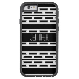 Capa Tough Xtreme Para iPhone 6 Teste padrão listrado abstrato preto e branco