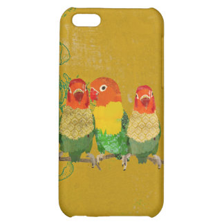 Capas de iphone douradas dos pássaros do amor do v capas para iphone 5C