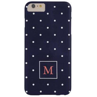 Capas iPhone 6 Plus Barely There Bolinhas no monograma coral profundo do azul |