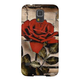Capas Par Galaxy S5 Rosa vermelha rústica de madeira afligida Grunge