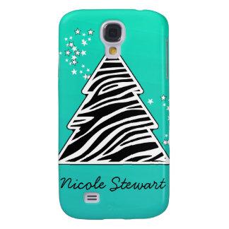 Capas Samsung Galaxy S4 Árvore de Natal da zebra de turquesa