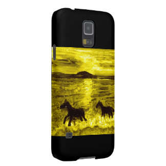 Capinha Galaxy S5 Cavalos em um litoral dourado