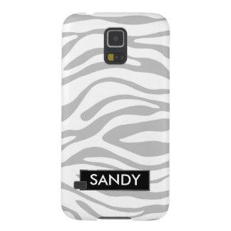 Capinha Galaxy S5 Prata metálica e monograma branco da zebra
