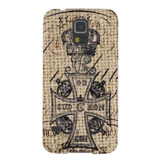 Capinhas Galaxy S5 Cruz religiosa de serapilheira da coroa do vintage