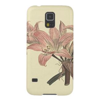 Capinhas Galaxy S5 Ilustração botânica cor-de-rosa do lírio de