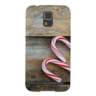 Capinhas Galaxy S5 Madeira rústica com os bastões de doces do Natal