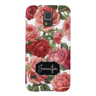 Capinhas Galaxy S5 Nome floral dos rosas rosas vermelha elegantes