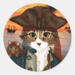 Capitão Leo, gato do pirata & etiqueta da arte da Adesivo