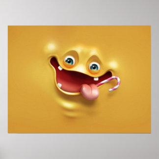 Cara amarela engraçada poster