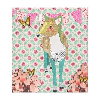 Cara arte floral das canvas dos cervos impressão de canvas envolvida
