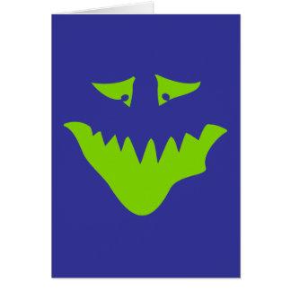 Cara assustador do verde limão. Monstro Cartão Comemorativo