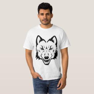 a7cedc04bf Cara branca do lobo do preto da camisa