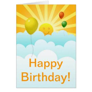 Cara da luz do sol e cartão de aniversário felizes