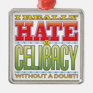 Cara do ódio do celibato ornamento quadrado cor prata