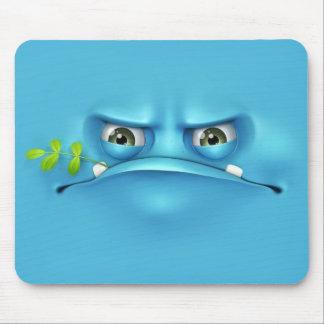 cara engraçada azul mouse pad