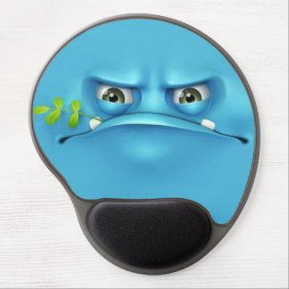 cara engraçada azul mouse pads de gel