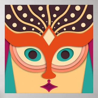 Cara engraçada da arte abstracta poster