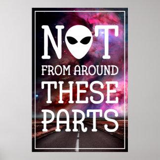 Cara estrangeira engraçada do observador do UFO Poster