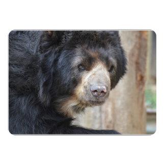 Cara fantástica de um urso preto convite 12.7 x 17.78cm