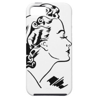 Cara retro da silhueta da mulher capas para iPhone 5